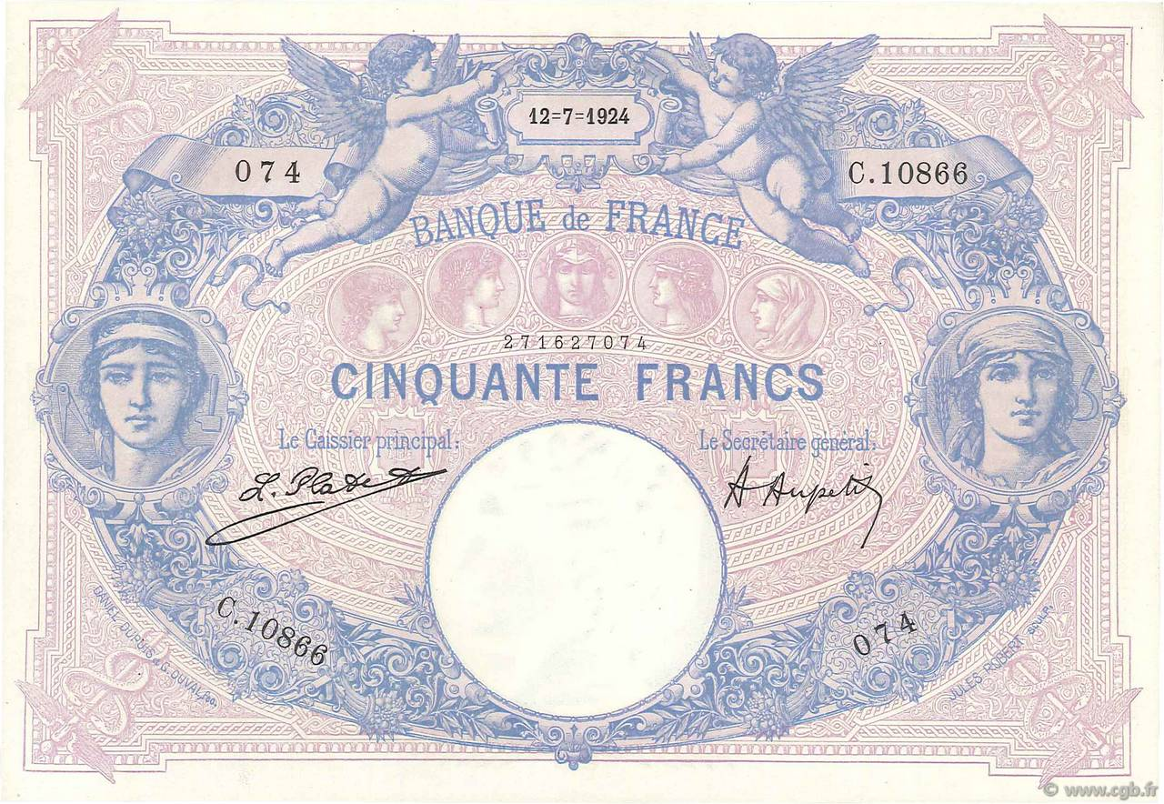 50 Francs BLEU ET ROSE FRANCE  1924 F.14.37 SPL