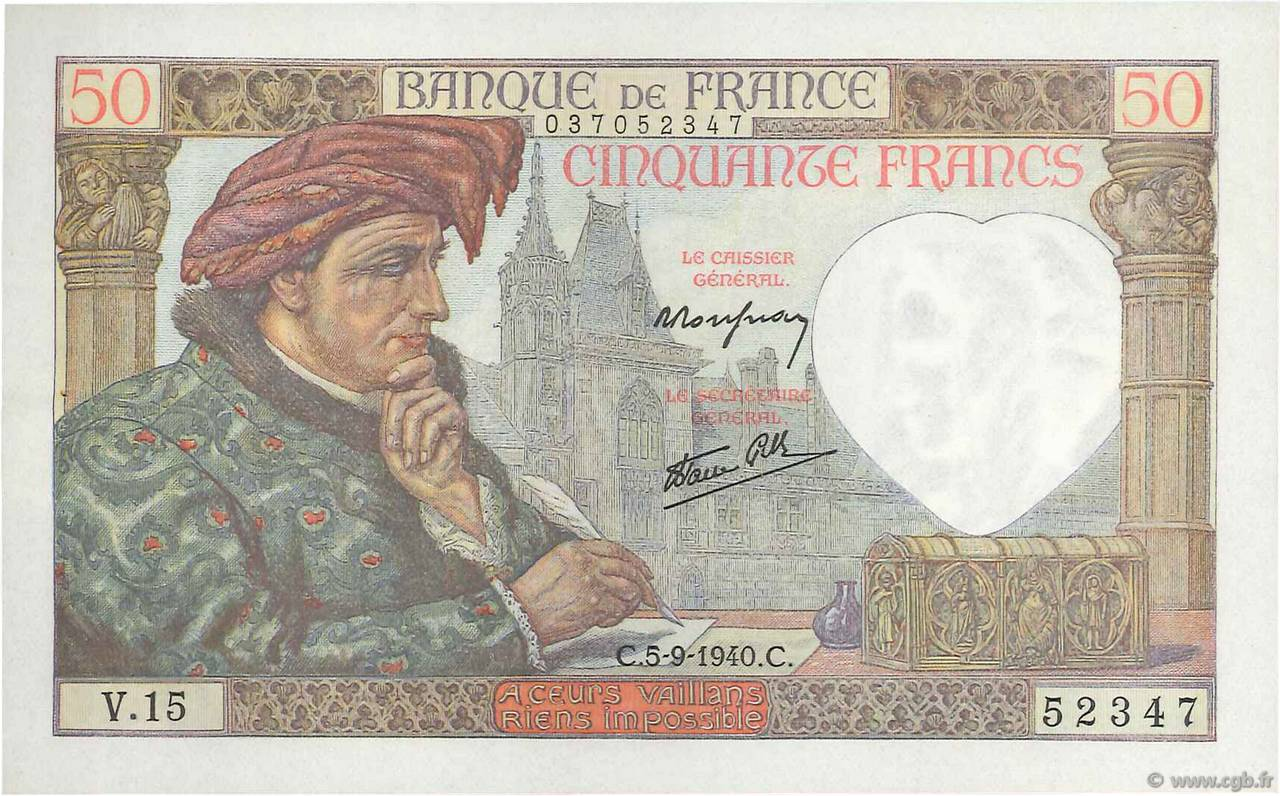 50 Francs JACQUES CŒUR FRANCE  1940 F.19.02 SPL