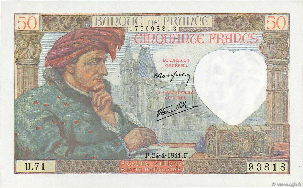 50 Francs JACQUES CŒUR FRANCE  1941 F.19.09 NEUF
