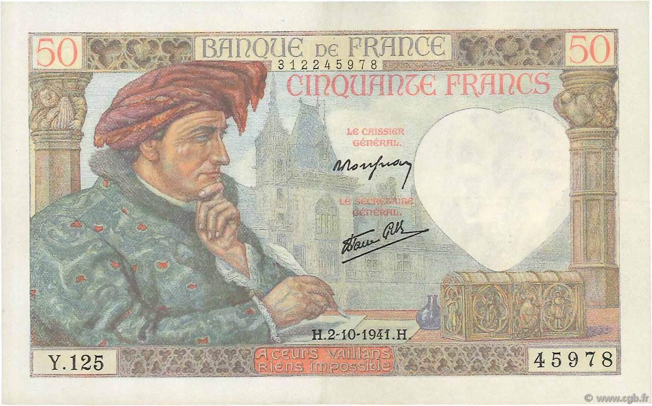 50 Francs JACQUES CŒUR FRANCE  1941 F.19.15 SUP+
