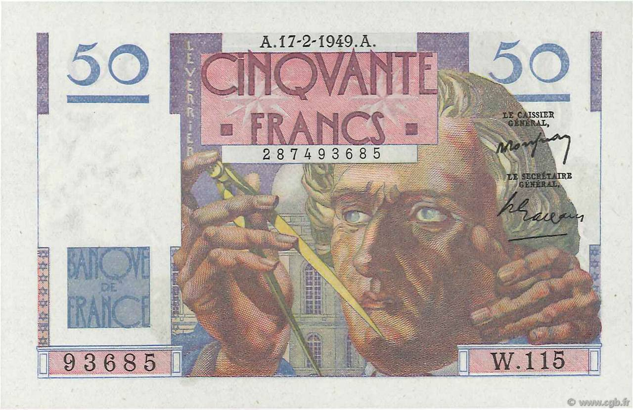 50 Francs LE VERRIER FRANCE  1949 F.20.11 NEUF