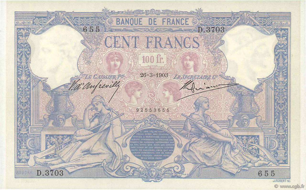100 Francs BLEU ET ROSE FRANCE  1903 F.21.17 SUP+
