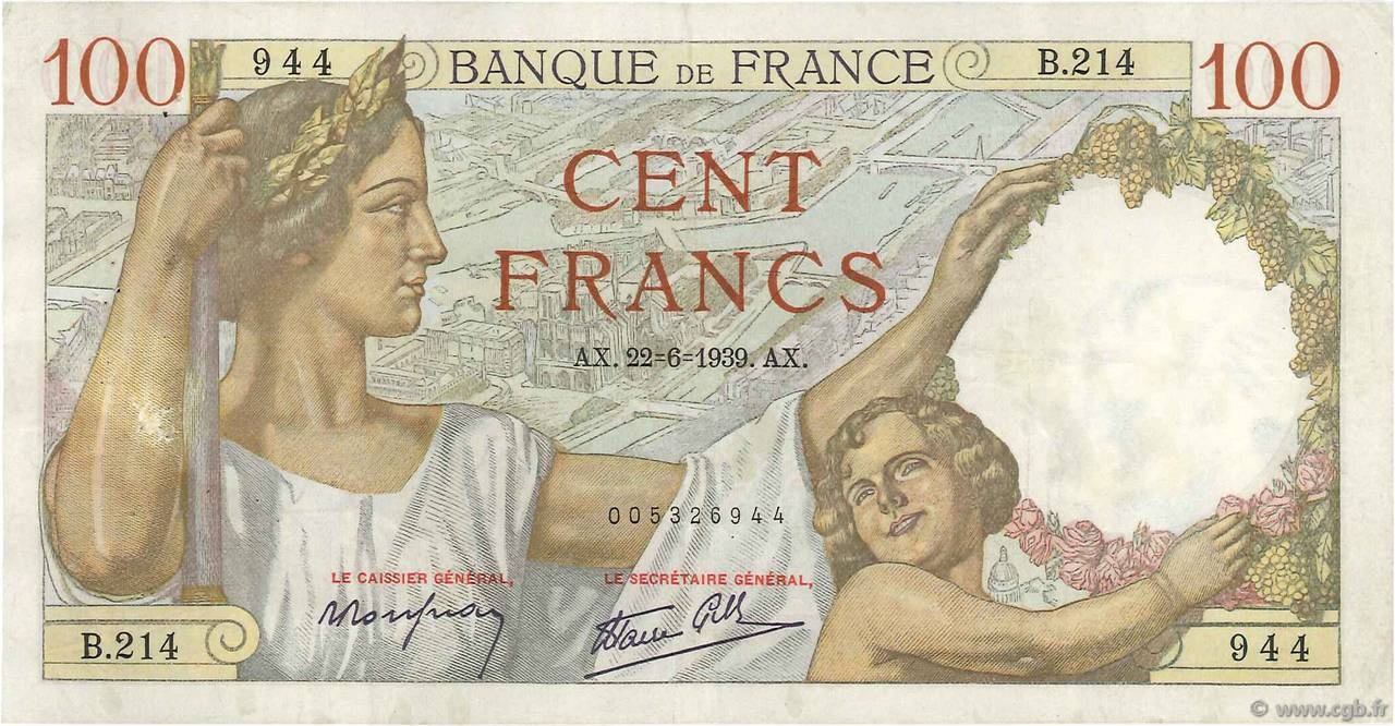 100 Francs SULLY FRANCE  1939 F.26.03 TTB