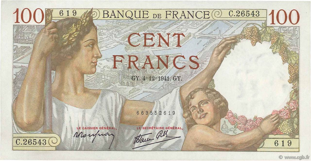 100 Francs SULLY FRANCE  1941 F.26.62 pr.NEUF