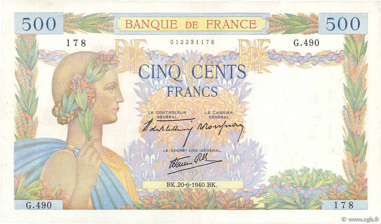 500 Francs LA PAIX FRANCE  1940 F.32.03 SUP