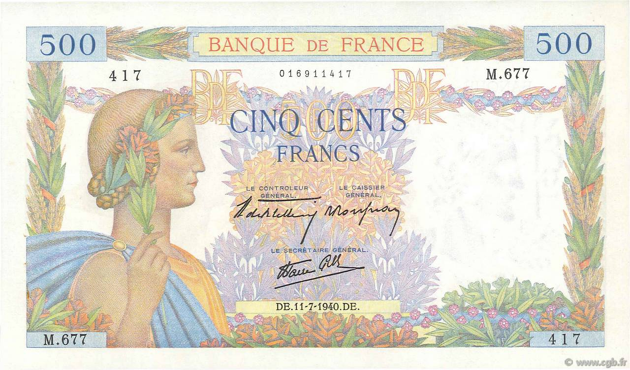 500 Francs LA PAIX FRANCE  1940 F.32.04 SPL