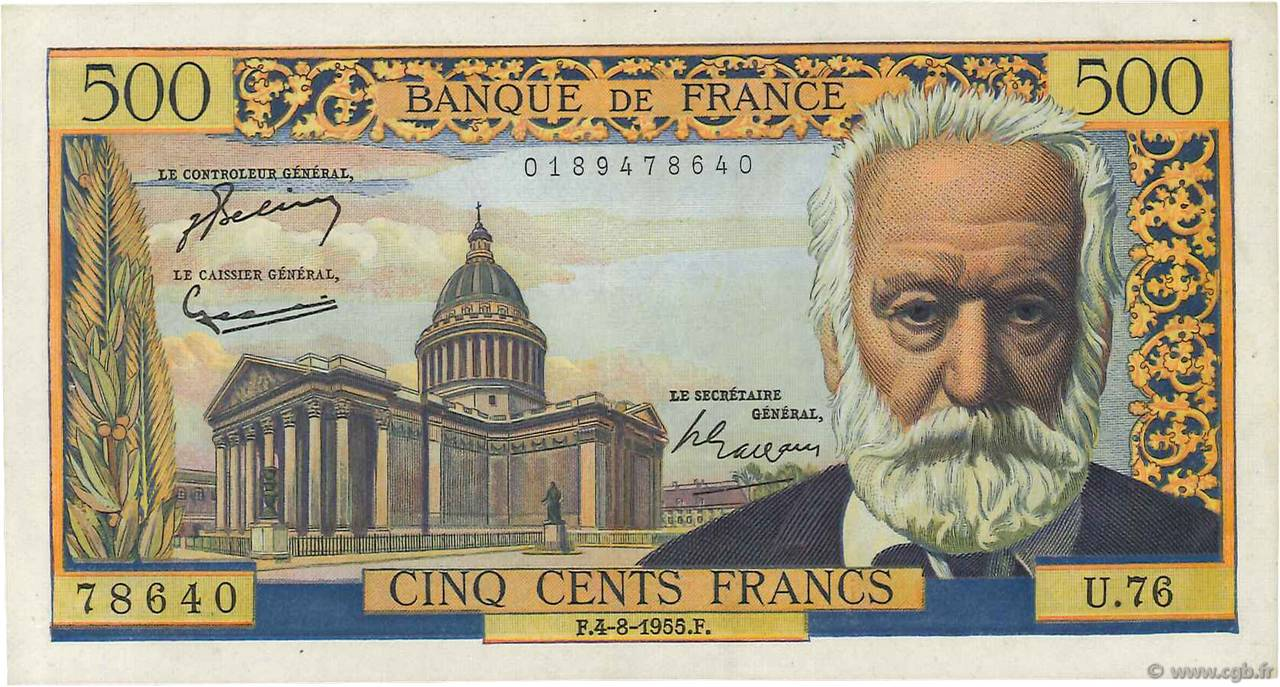 500 Francs VICTOR HUGO FRANCE  1955 F.35.05 SUP+