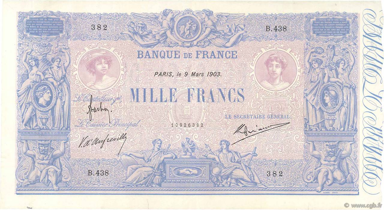 1000 Francs BLEU ET ROSE FRANCE  1903 F.36.17 SUP