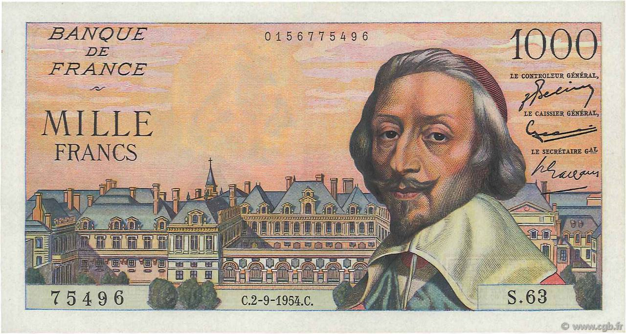 1000 Francs RICHELIEU FRANCE  1954 F.42.07 NEUF