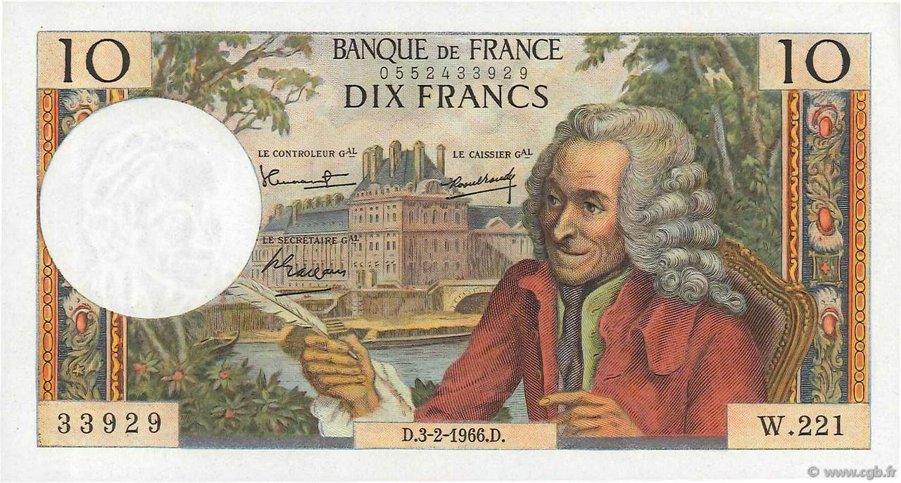 10 Francs VOLTAIRE FRANCE  1966 F.62.20 NEUF