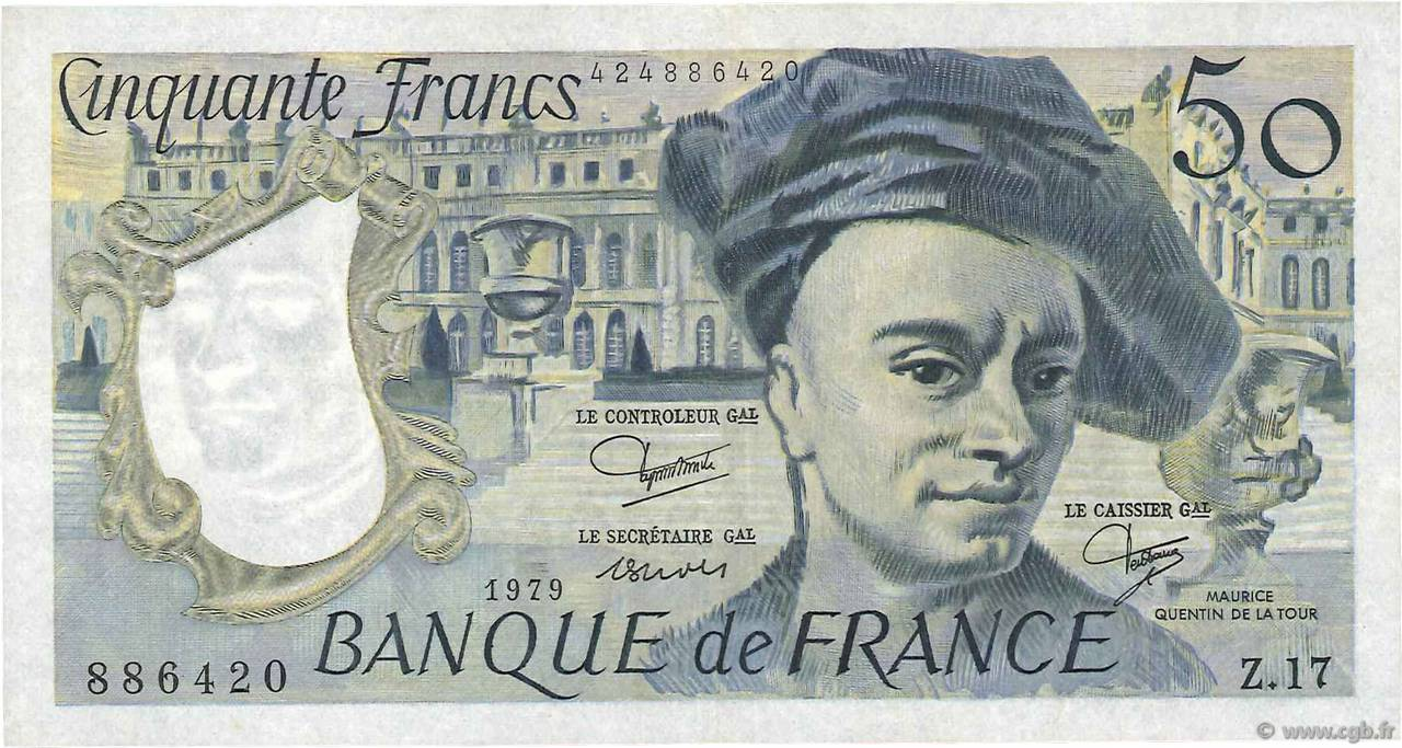 50 Francs QUENTIN DE LA TOUR FRANCE  1979 F.67.05 TTB+