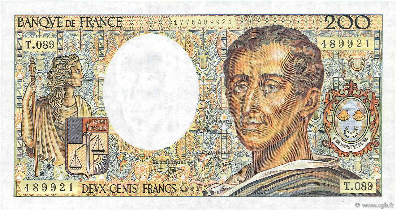 200 Francs MONTESQUIEU UNIFACE FRANCE  1991 F.70u.04 pr.NEUF