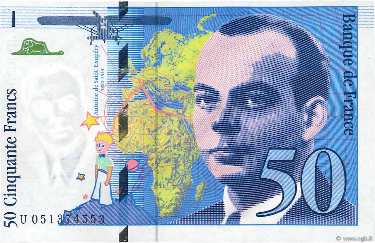 50 Francs SAINT-EXUPÉRY modifié FRANCE  1999 F.73.05 SPL