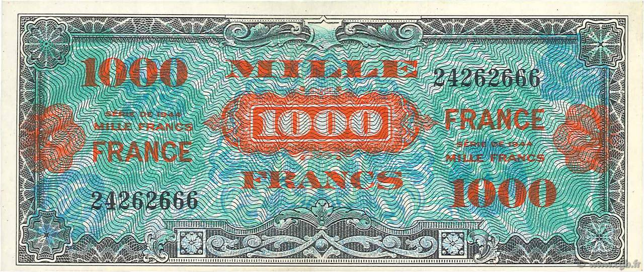 1000 Francs FRANCE FRANCE  1945 VF.27.01 SPL