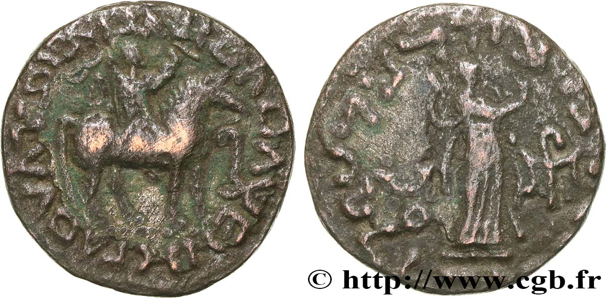 SCYTHIA - INDO-SCYTHIAN KINGDOM - AZES Tétradrachme bilingue VF