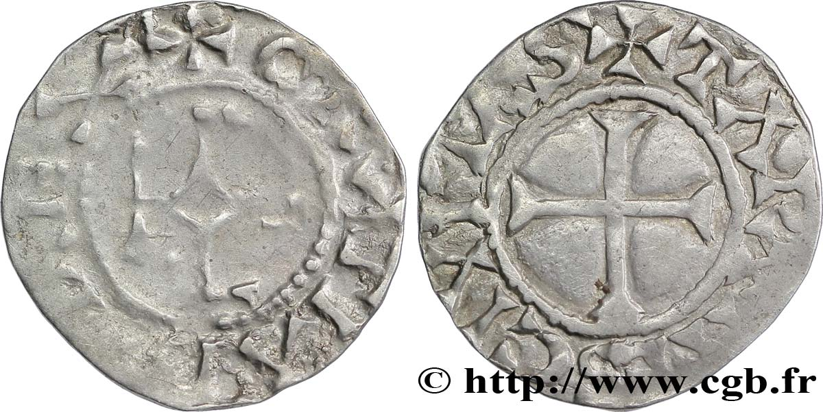 CHARLES THE BALD AND COINAGE AT HIS NAME Denier VF/XF