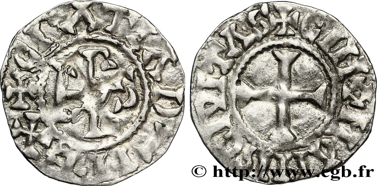 CHARLES THE BALD AND COINAGE IN HIS NAME Denier XF