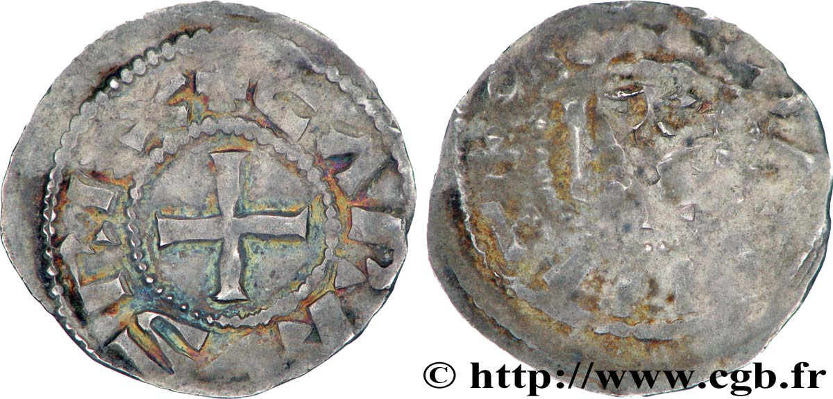 CHARLES THE BALD AND COINAGE IN HIS NAME Denier VF/F
