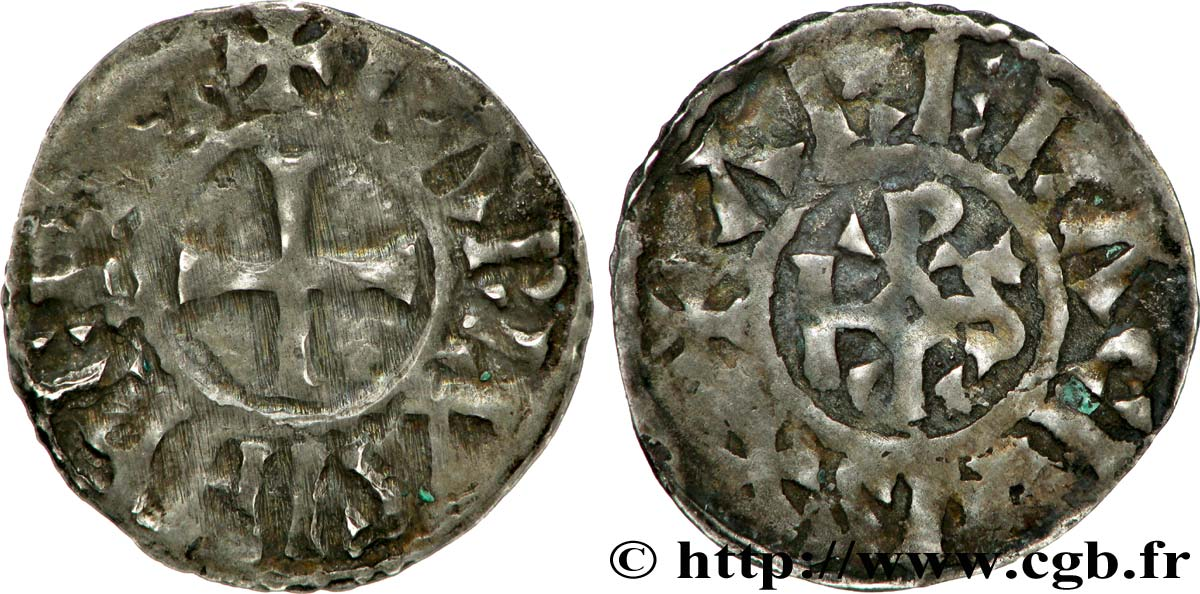 CHARLES THE BALD AND COINAGE IN HIS NAME Denier VF
