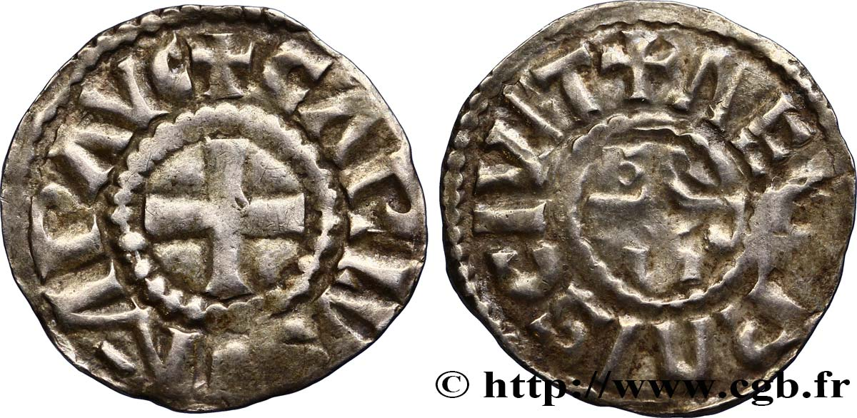 CHARLES THE BALD AND COINAGE IN HIS NAME Denier XF/VF