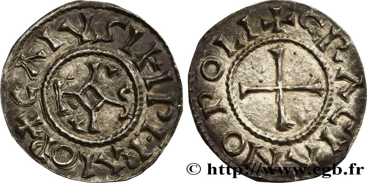 CHARLES THE BALD AND COINAGE IN HIS NAME Denier AU/AU