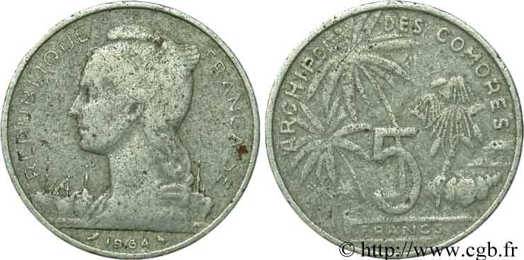 COMORES - Archipel 5 Francs 1964 Paris B