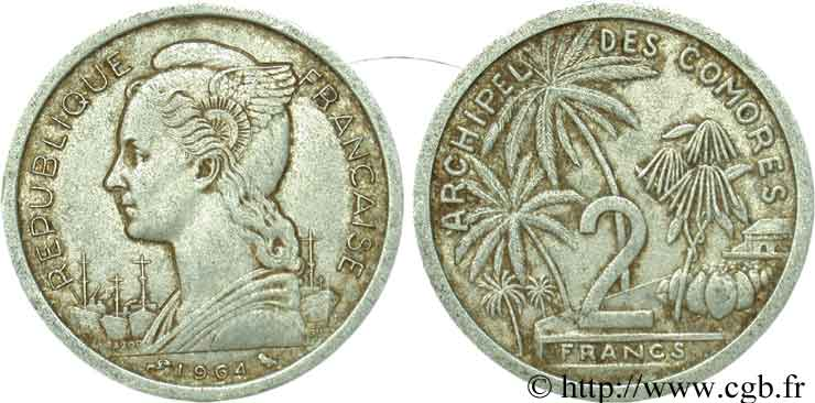 COMORES - Archipel 2 Francs 1964 Paris TB
