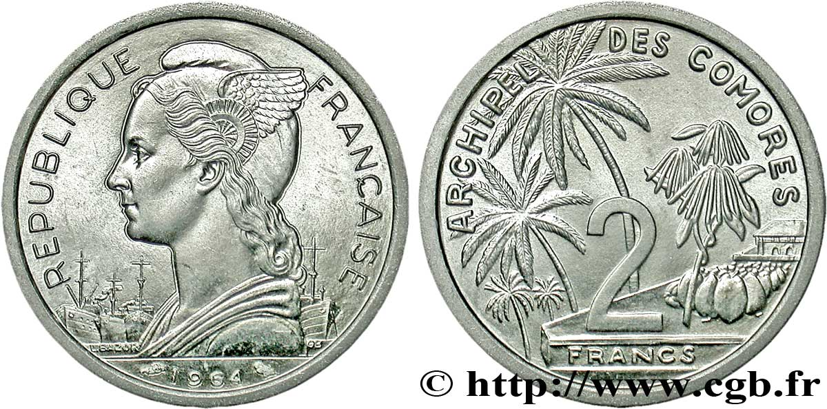 COMORES - Archipel 2 Francs 1964 Paris SPL
