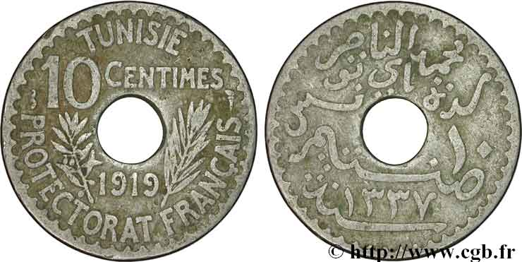 TUNISIA - FRENCH PROTECTORATE 10 Centimes AH 1337 1919 Paris XF