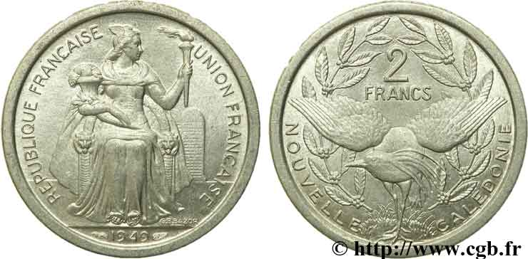 NEW CALEDONIA 2 Francs Union Française 1949 Paris MS