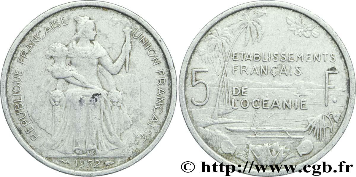 FRENCH POLYNESIA - French Oceania 5 Francs Établissements Français de l'Océanie 1952 Paris
