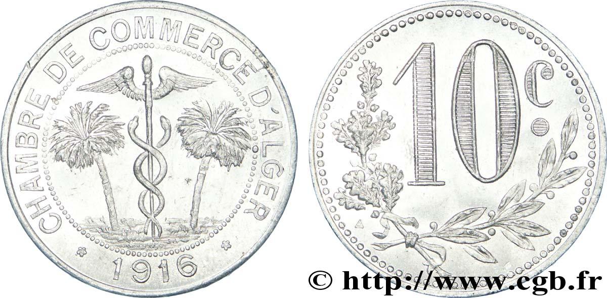 ALGERIA 10 Centimes Chambre de Commerce d'Alger caducéee netre deux palmiers 1916