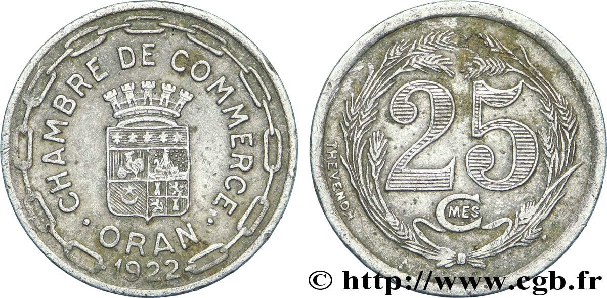 Alg rie 25 centimes chambre de commerce d oran 1922 ttb for Chambre de commerce algerienne