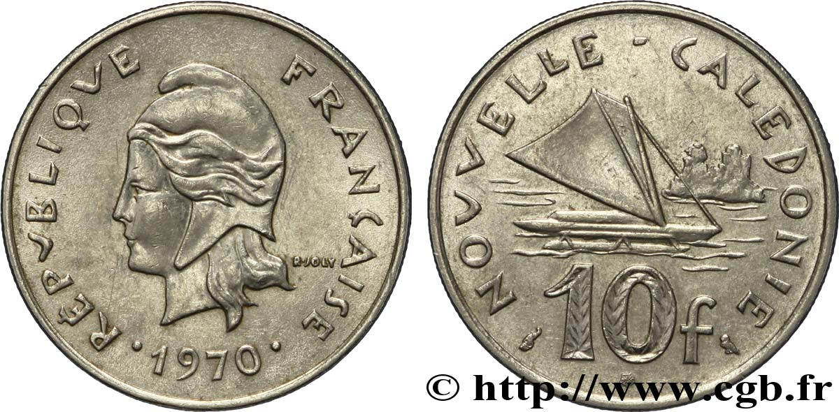 NOUVELLE CALÉDONIE 10 Francs Marianne / voilier traditionnel 1967 Paris SUP