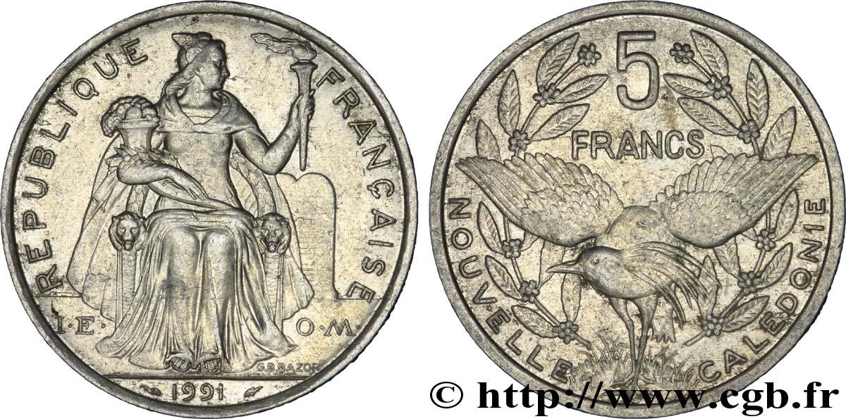 NEW CALEDONIA 5 Francs I.E.O.M. représentation allégorique de Minerve / Kagu, oiseau de Nouvelle-Calédonie 1991 Paris