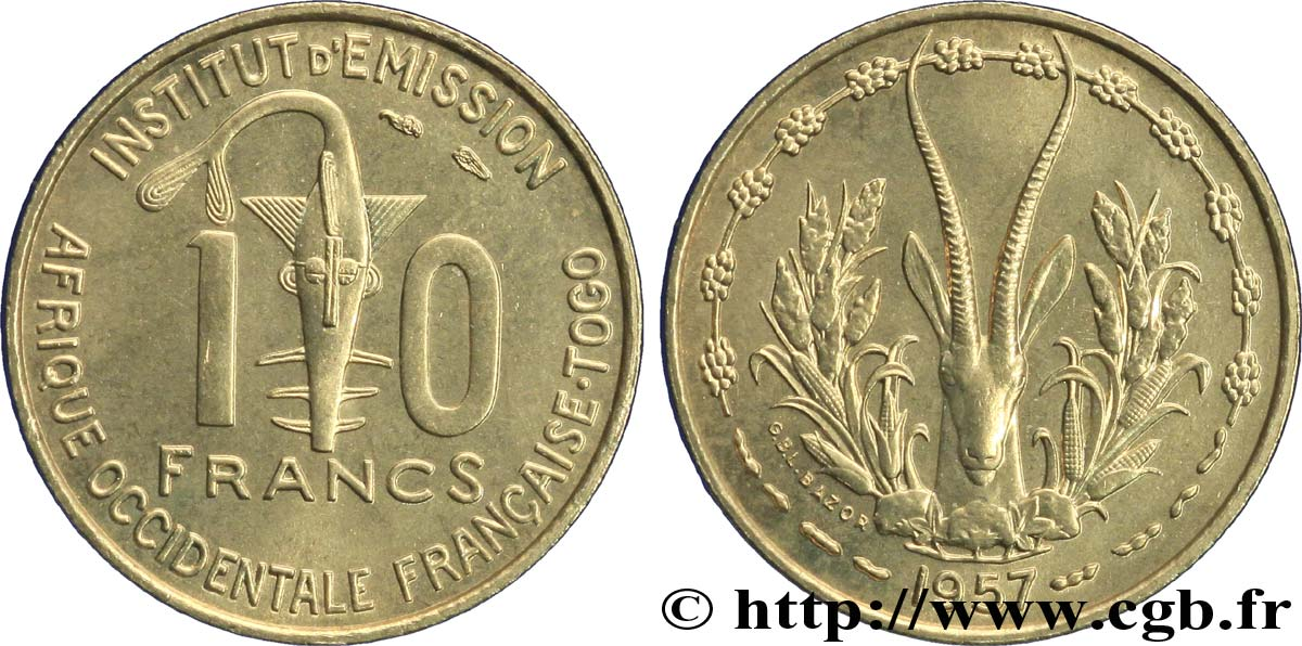 FRENCH WEST AFRICA - TOGO 10 Francs 1957 Paris MS