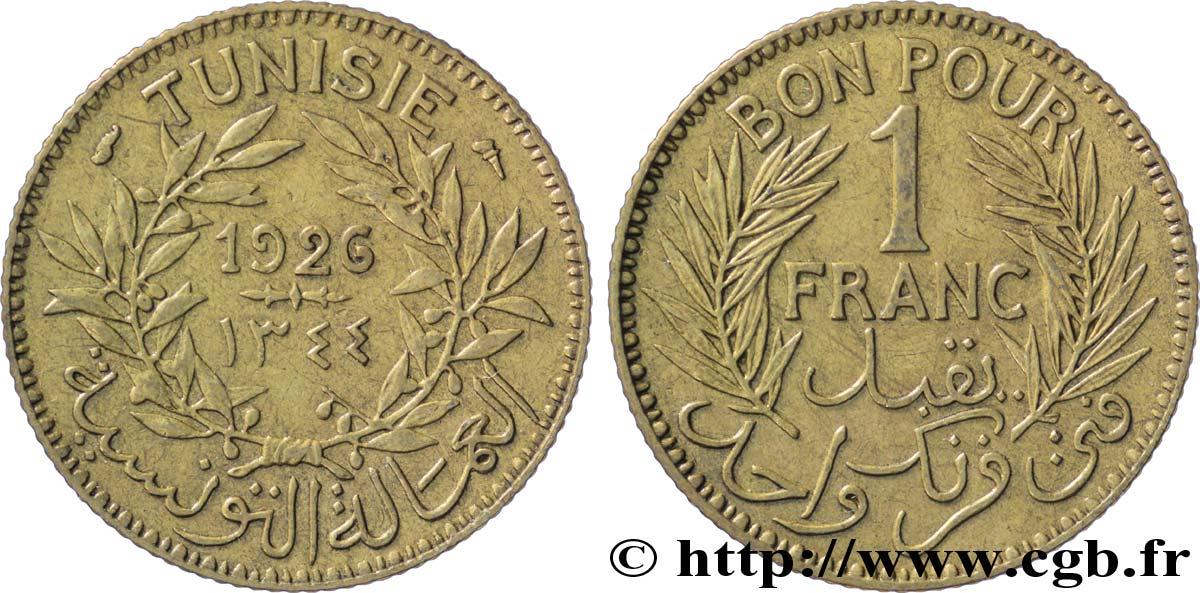 TUNISIA - French protectorat Bon pour 1 Franc sans le nom du Bey AH1344 1926 Paris