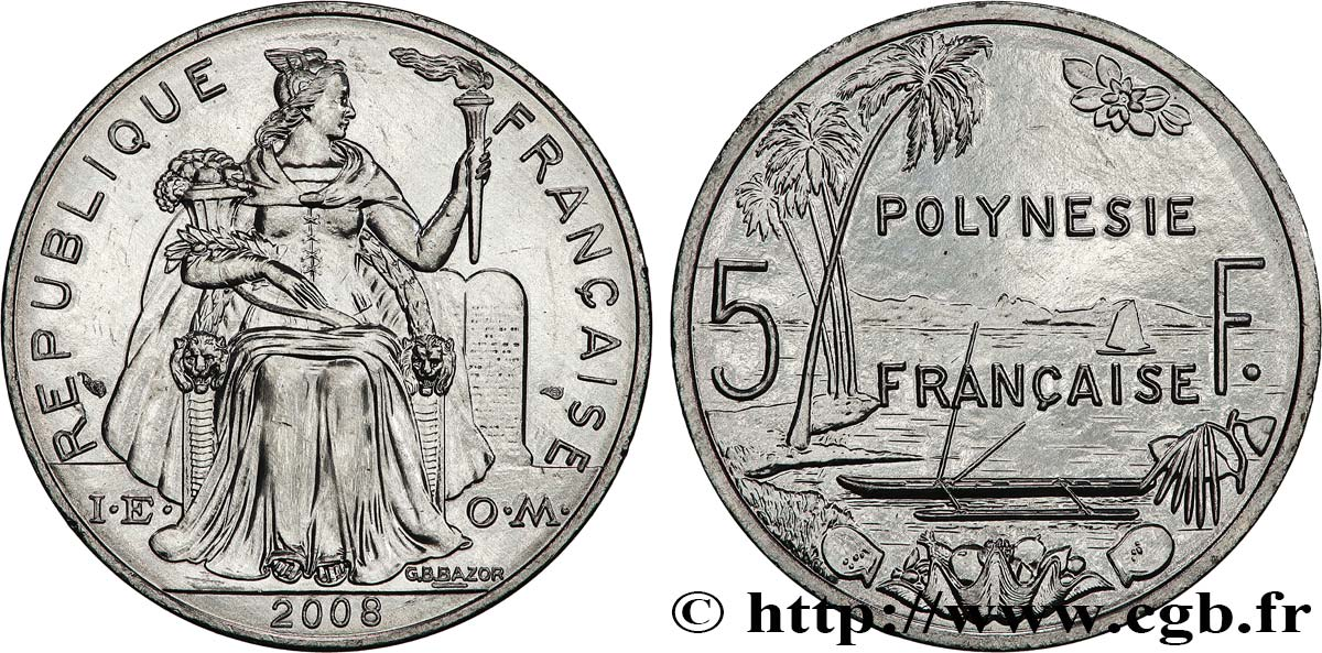 FRENCH POLYNESIA 5 Francs 2008  MS