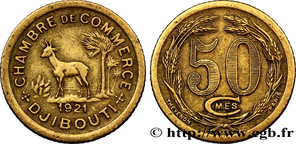 djibouti 50 centimes chambre de commerce de djibouti 1921