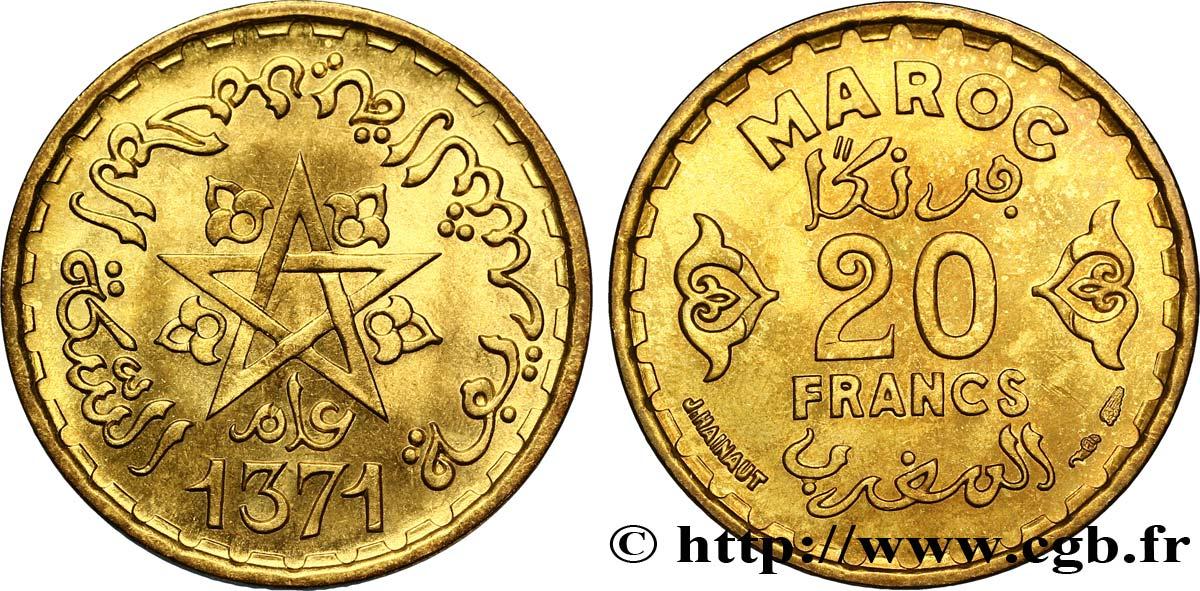 Maroc Protectorat Francais 20 Francs Ah 1371 1952 Paris Fco 302984