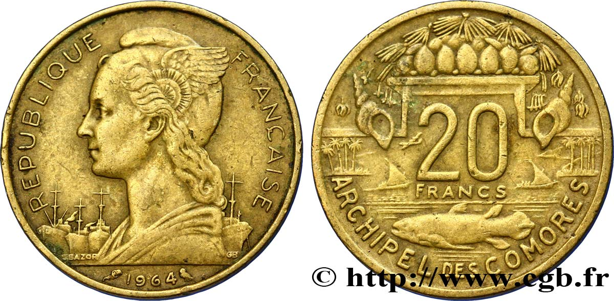 COMORES - Archipel 20 Francs 1964 Paris TTB