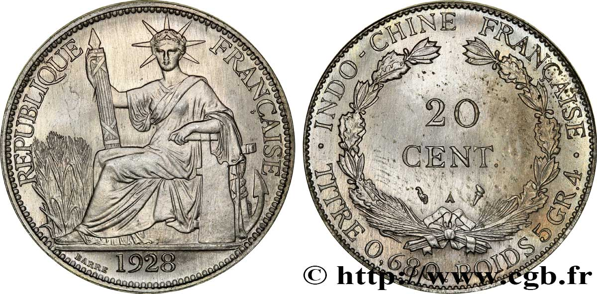 FRENCH INDOCHINA 20 Centièmes (Essai) Cupro-Nickel 1928 Paris MS