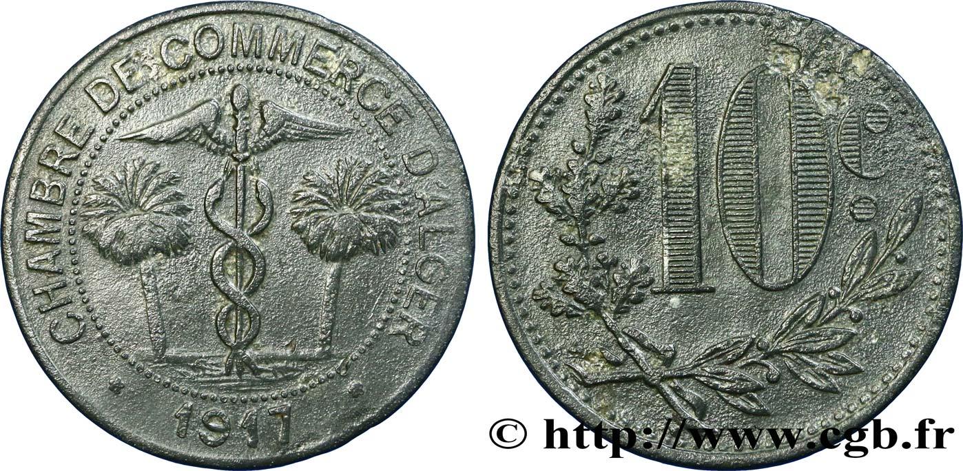 Alg rie 10 centimes chambre de commerce d alger 1917 ttb for Chambre de commerce algerie
