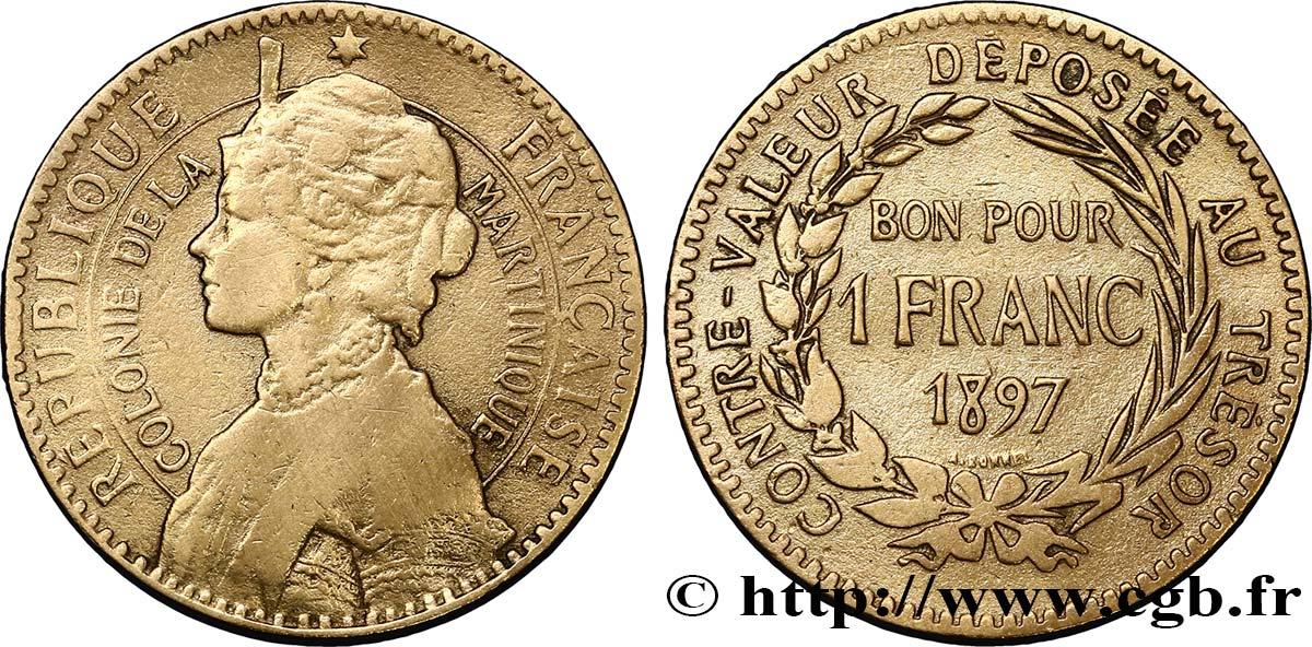 Martinique bon pour 1 franc colonie de la martinique 1897 for Bon pour 1 franc chambre de commerce