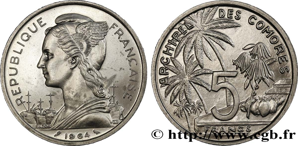 COMORES - Archipel 5 Francs 1964 Paris SPL