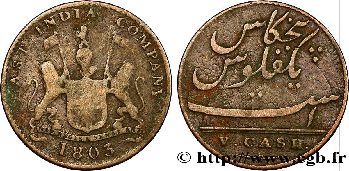 ILE DE FRANCE (MAURITIUS) V (5) Cash East India Company 1803 Madras F
