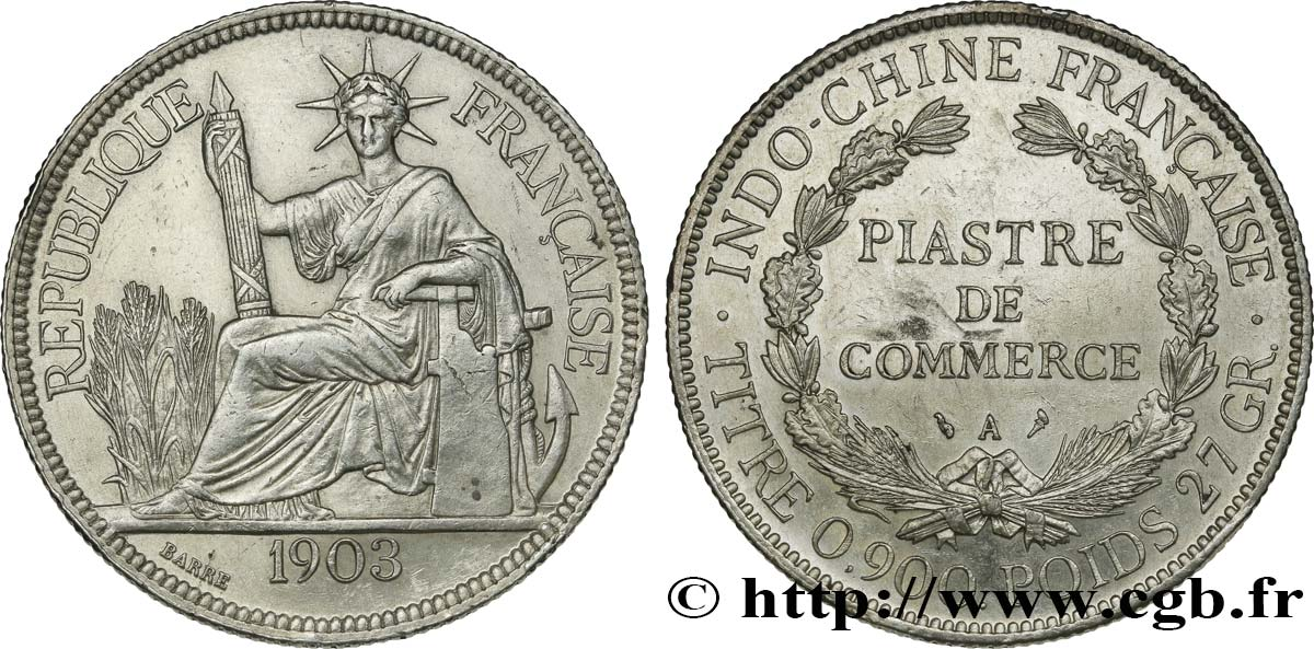 Französische Indochina 1 Piastre De Commerce 1903 Paris Fco364782