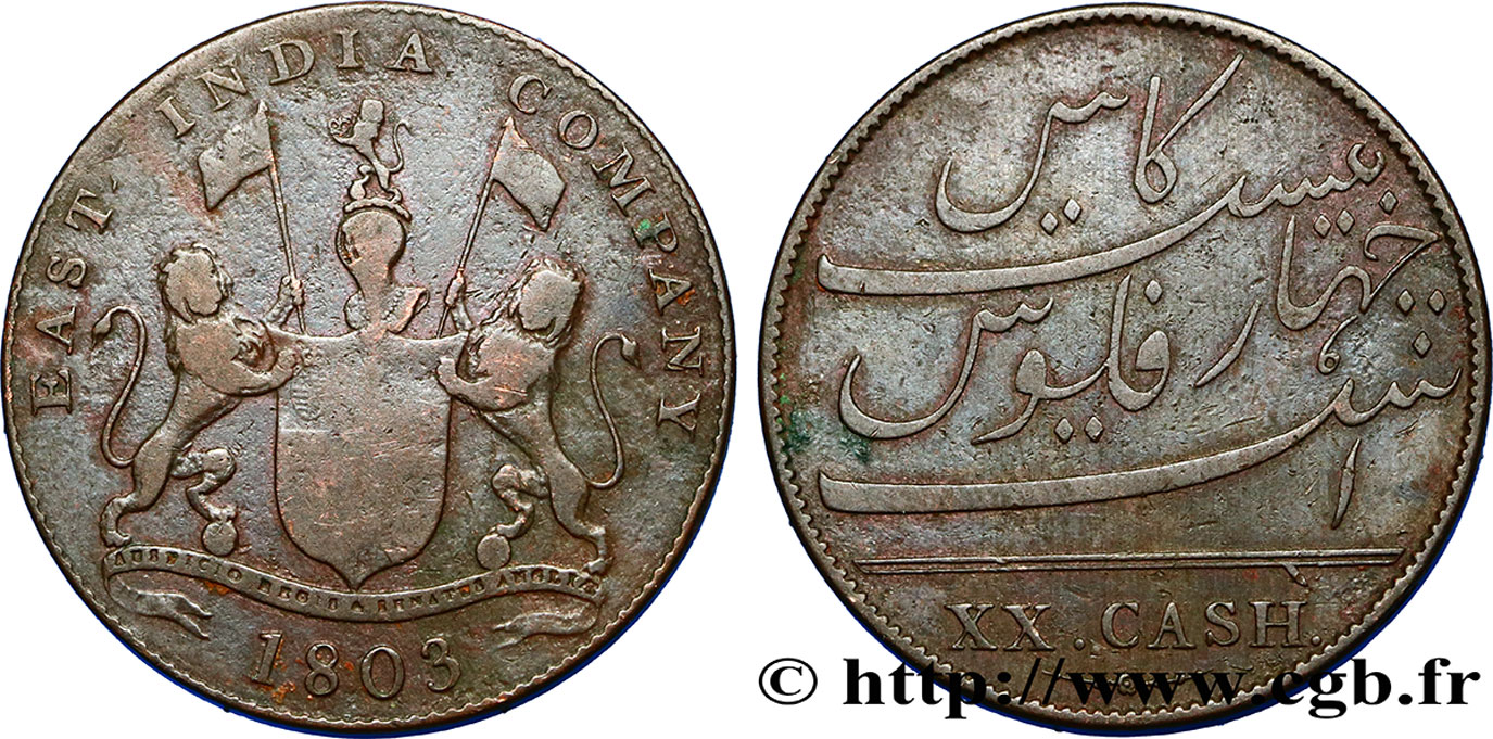 ÎLE DE FRANCE (ÎLE MAURICE) XX (20) Cash East India Company 1803 Madras TB