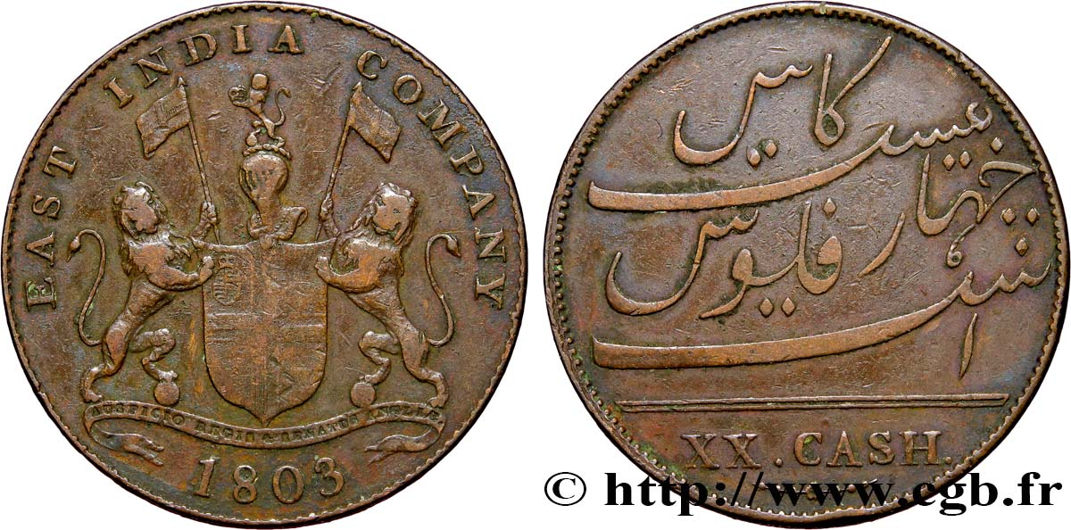 ÎLE DE FRANCE (ÎLE MAURICE) XX (20) Cash East India Company 1803 Madras TTB