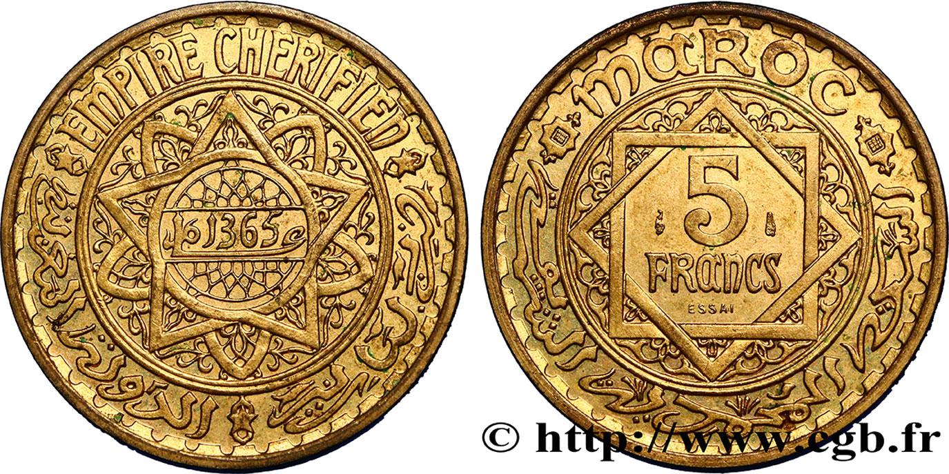 morocco french protectorate essai de 5 francs ah 1365 1946 paris fco 404186 colonial coins. Black Bedroom Furniture Sets. Home Design Ideas